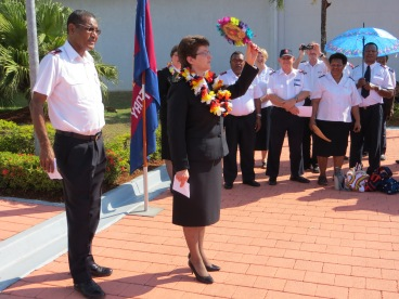 General Linda Bond greeted at the airport by Territorial Commander Commissioner Andrew Kalai and PNG Salvationists