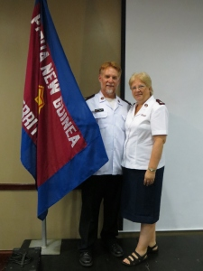 At Officers Councils, we got the chance to see our new territory's flag for the first time.