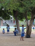 BPS students play games in the shade during recess.